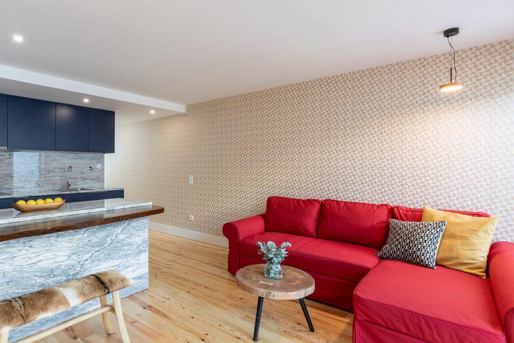 sala de estar e cozinha open space